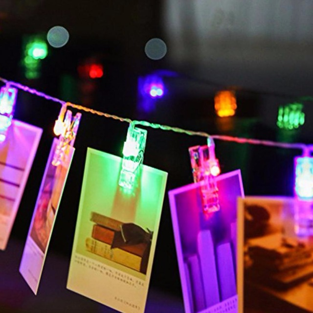 2018 High quality bedroom Xmas decoration 2m 20leds 3AA battery powered led photo clip fairy string lights