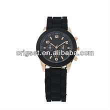 Soft Black Jelly Silicone Vogue Rose Gold Women Girls Gift Fashion Wrist Watch