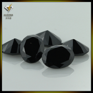 Synthetic 6x8mm oval cut black loose cubic zirconia