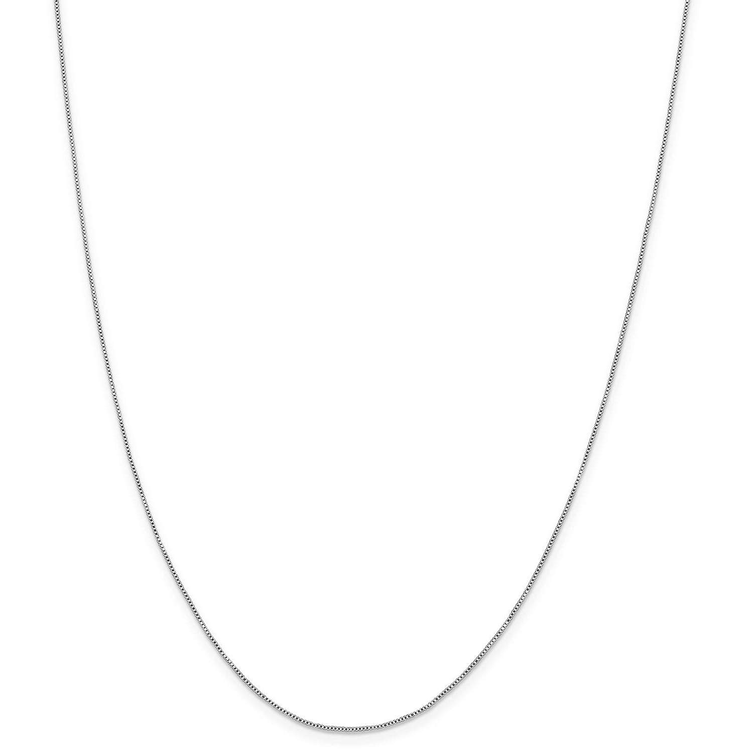 "925 Sterling Silver Solid 0.6mm Polished Box Chain Necklace 9"" - 24"""