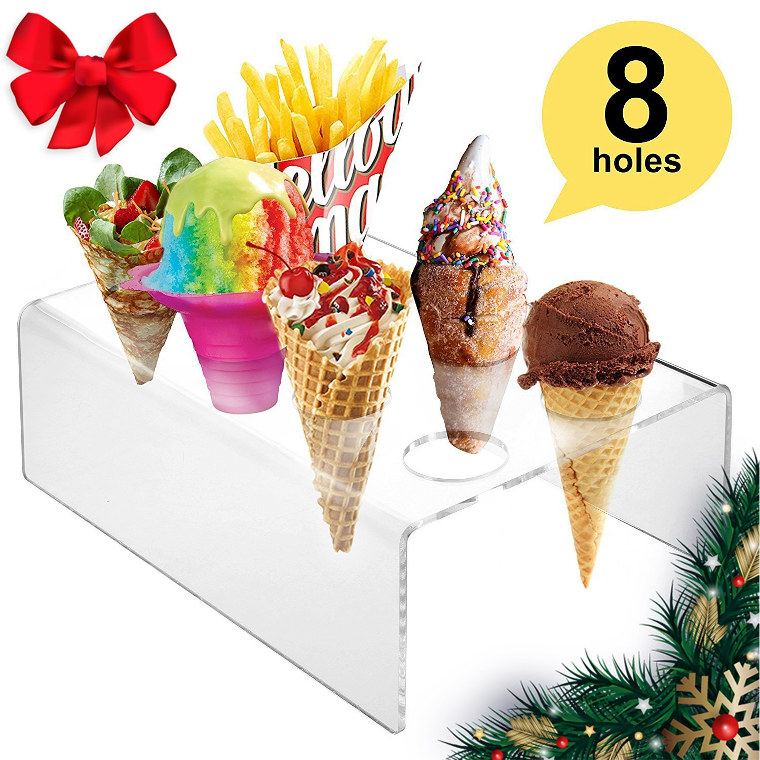 8 Holes Acrylic Mini Ice Cream Waffle Cones Stand Rack for Cute Desserts Display, Ice Cream, Snow Cone, Popcorn, Candy, French Fries, Sweets, Savory - Ice Cream Recipe eBook Included