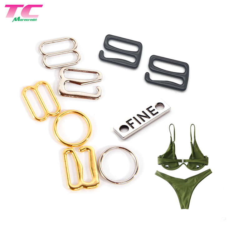 Eco Friendly Underwear Accessories Swimwear Metal Buckle Zinc Alloy Bra Strap Rings Sliders Hooks Adjusters, Shiny rose gold;gold;silver or other color