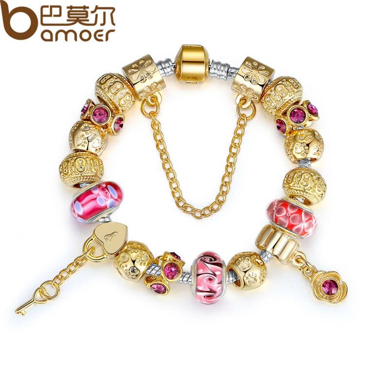 Bamoer высокое качество золотой браслет для женщин с изысканным муранского стекла бусины поделки подарок на день рождения PA1804