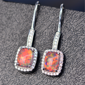Bling Jewelry 925 Sterling Silver Mexican Fire Opal Stud Earrings