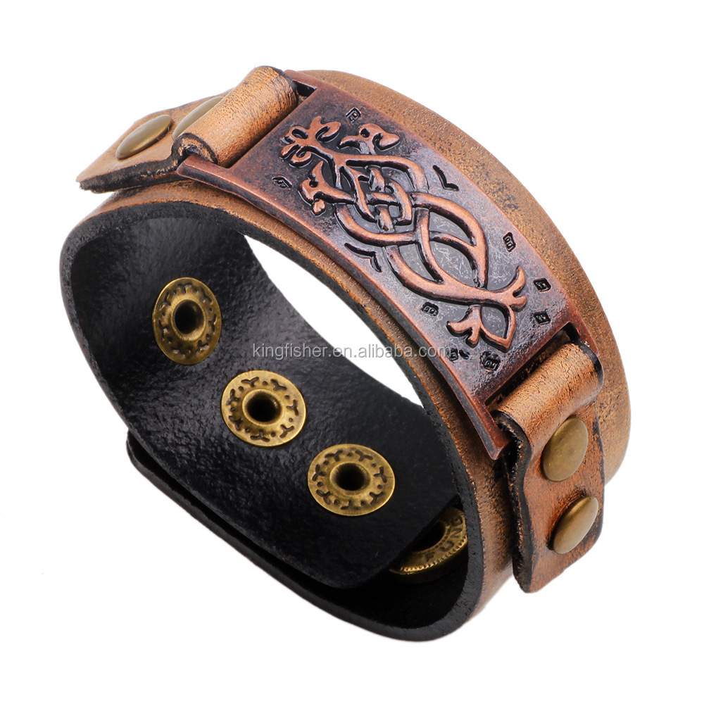 Embossed flower pattern red brass tone tag retro leather bangle for men