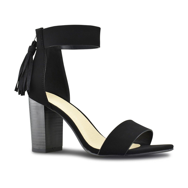 Premier Standard Women's Tassle Fringe Zip Back - Open Toe Low Heel - Sexy Stacked Wood Heel Sandal