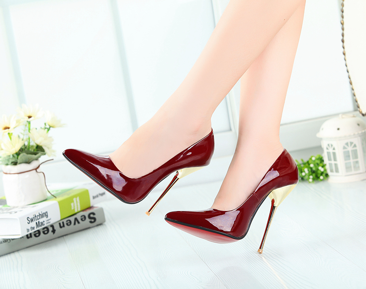4e261031f0d92 Buy size:40-45 46 47 48 49 new 14cm Metal Thin high heels women wedding  shoes red bottom ladies Pointed Toe fashion Night Club pumps in Cheap Price  on ...