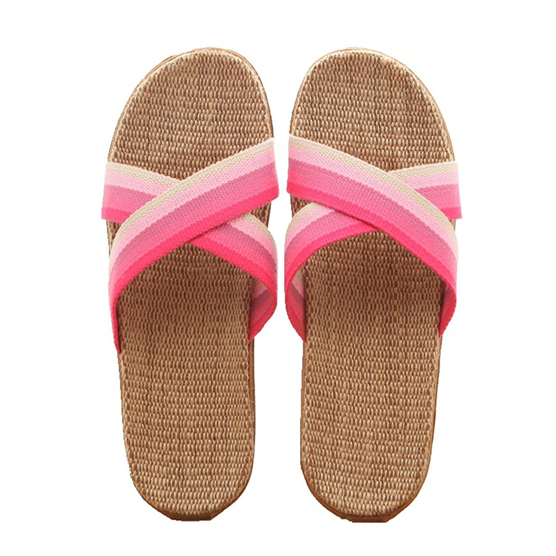 CYBLING Lightweight Men Women Linen House Slippers Summer Open Toes Slip On Indoor Slipper