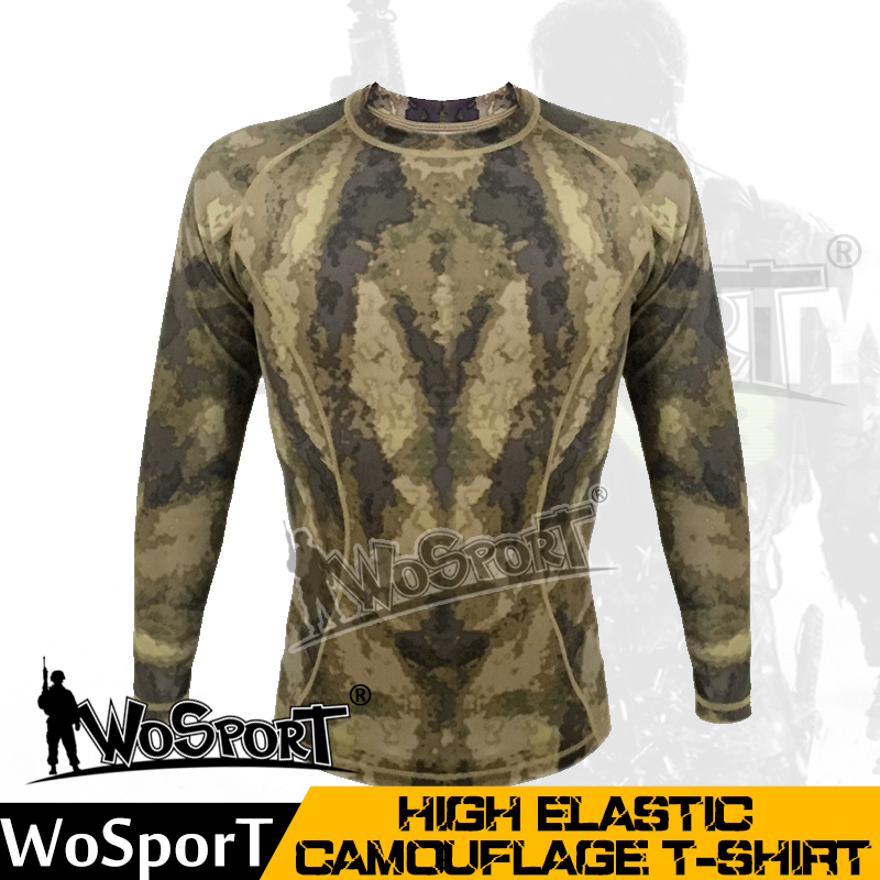 WoSporT Tactical high elastic camouflage T-shirt Polo T-shit military uniform