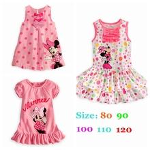 Verão de 2016 Minnie Meninas Vestidos Casuais Vestido Infantil Fantasia Vestidos Infantis Menina Bonito Da Criança Roupas de Bebê Meninas Vestido