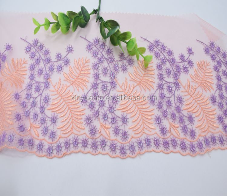 Beautiful embroidered lace flower lace fabricrecycled mesh fabric