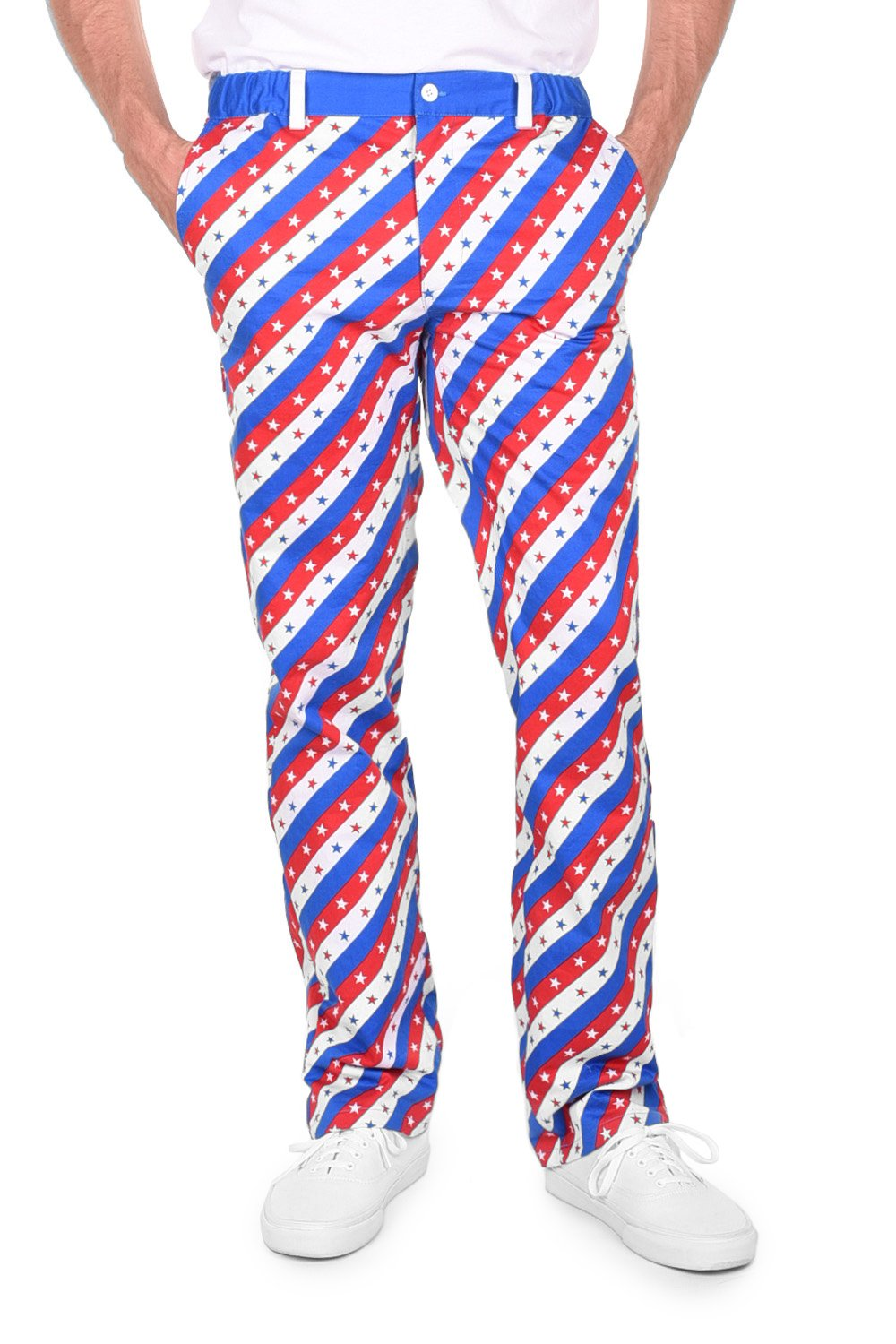 bc9f4679e7018 Tipsy Elves Men's Red White and Blue Patriotic USA Pants - American Flag  Golf Pants