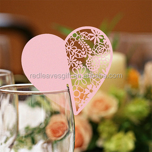 golden Cheap Paper craft wine glass place card for Christmas