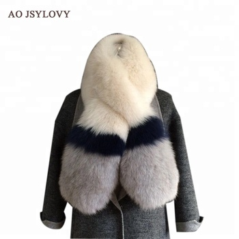 Luxury detachable ladies knit luxury fox fur scarf for wholesale