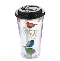 BPA free wholesale plastic material double wall tumbler with folding straw