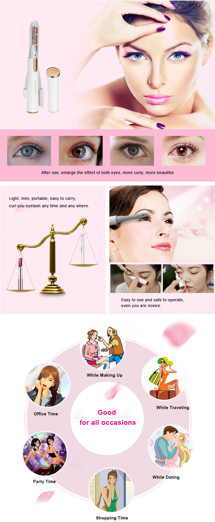 PRITECH Wholesale Long Time Lasting ABS Plastic Mini Electric Heated Eyelash Curler