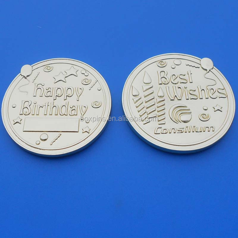 3D gold brass happy birthday coin best wishes coin as gift
