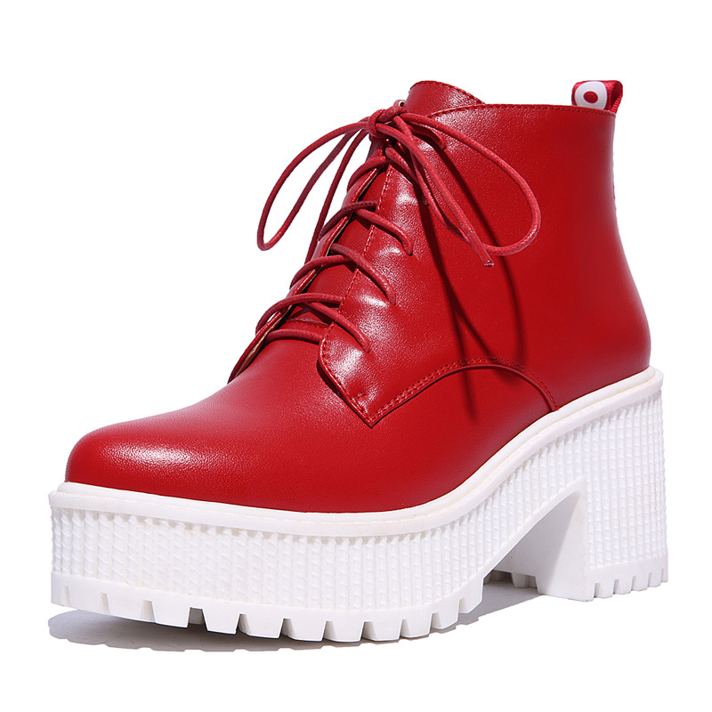 07807bcab72 Get Quotations · Korean Desigual Womens Geunine Leather Boots Lace-Up Thick Heels  Womens Ankle Boots Huikang Platform