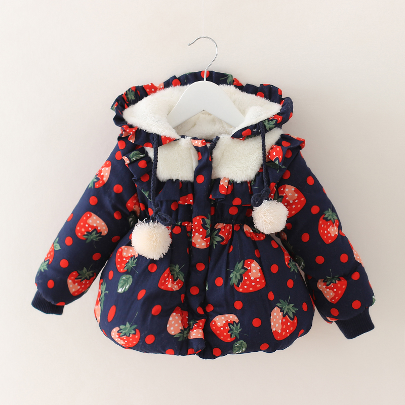 Girls Winter Coat strawberry Printed cotton padded winter coats for girls baby girl thicken winter warm