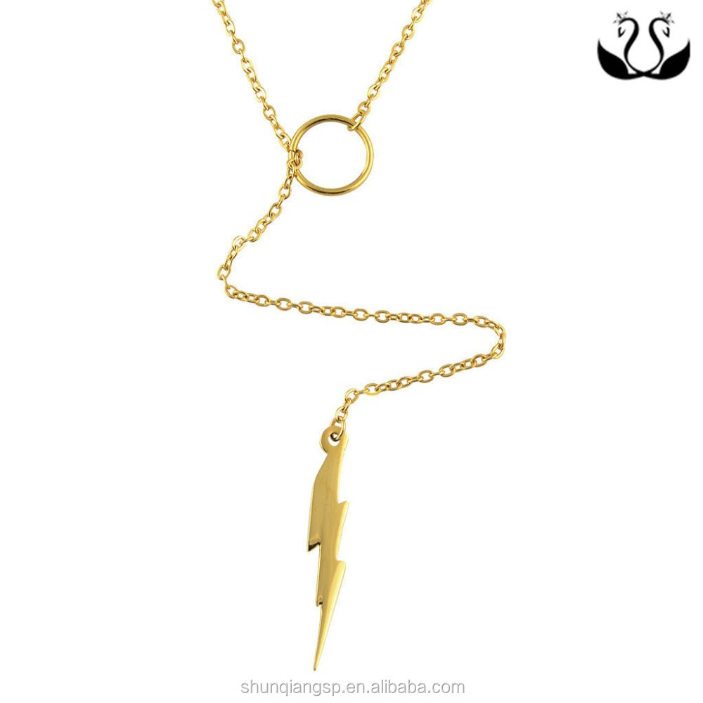 lightning bolt charm on an adjustable gold woman different types of necklace chains jewelry