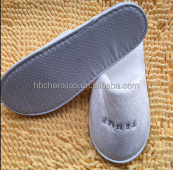 Trump White Velour Washable Hotel Guest Slippers With 5mm Eva Sole ...