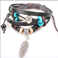 Hand-woven fashion Personality Cowhide Leather Beads feather Bracelet men women/leather bracelet/woven wristband