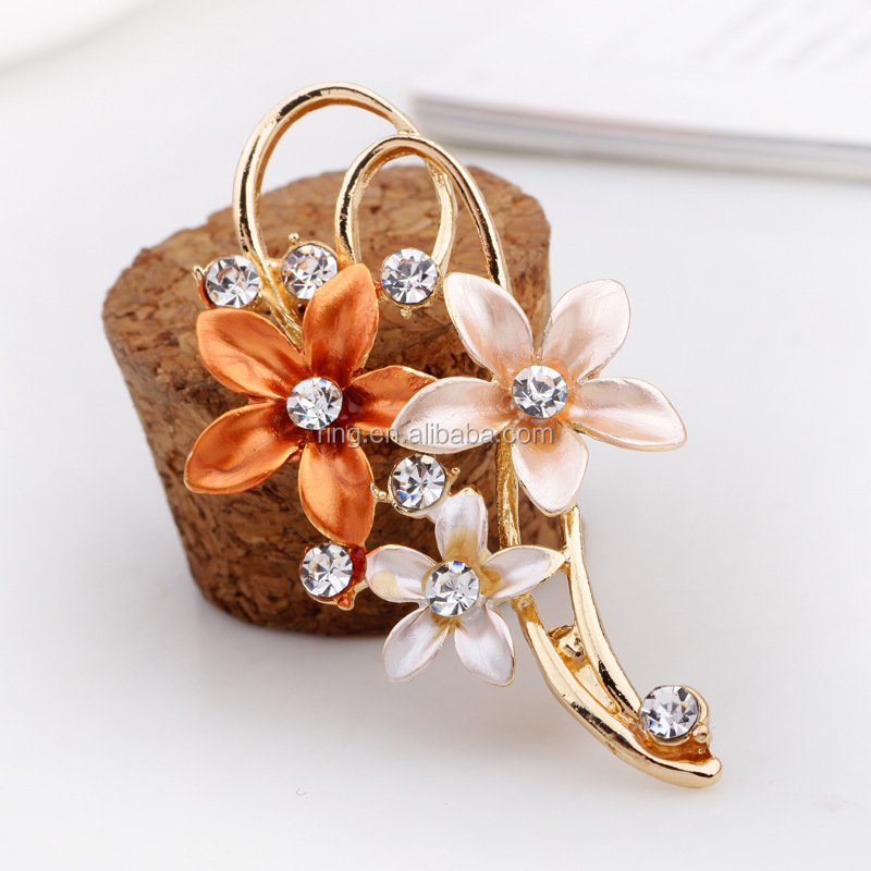 High Quality Gold Three Sunflower Brooch Pin Enameled Flower Brooch Jewelry