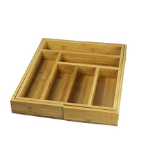 OEM and Best design Bamboo Expandable Cutlery tray flatware tray