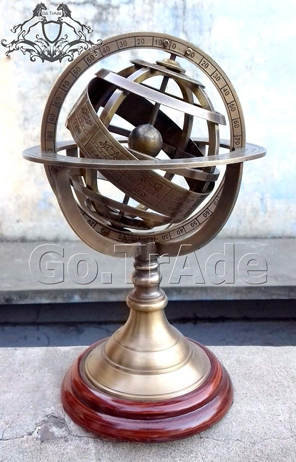 """Details about 8.5"""" Engraved Brass Tabletop Armillary Nautical Sphere Globes"""