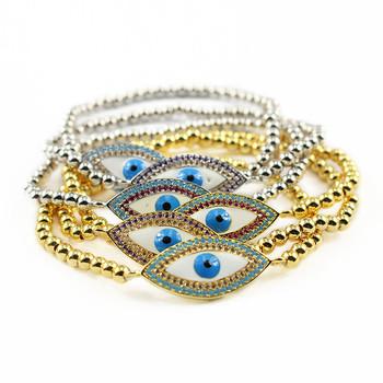 b1f556440a75e BRZ1307 Trendy Gold small beaded cz micro pave evil eye charm bracelets