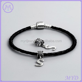 925 Sterling Silver Letter S Charms Leather Bracelet For European Jewelry