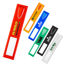 Hot sales cheap price customized print logo 13 cm length red color durable ABS plastic build-in sticky note holder scale ruler