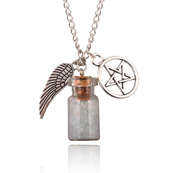 Drift bottle silver tone supernatural stone necklace pendant angel drift bottle silver tone supernatural stone necklace pendant angel wing pentagram star with salt bottle pendant aloadofball Gallery