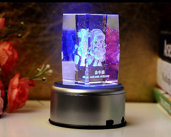 Wedding gift crystal 3d laser cube with LED light base