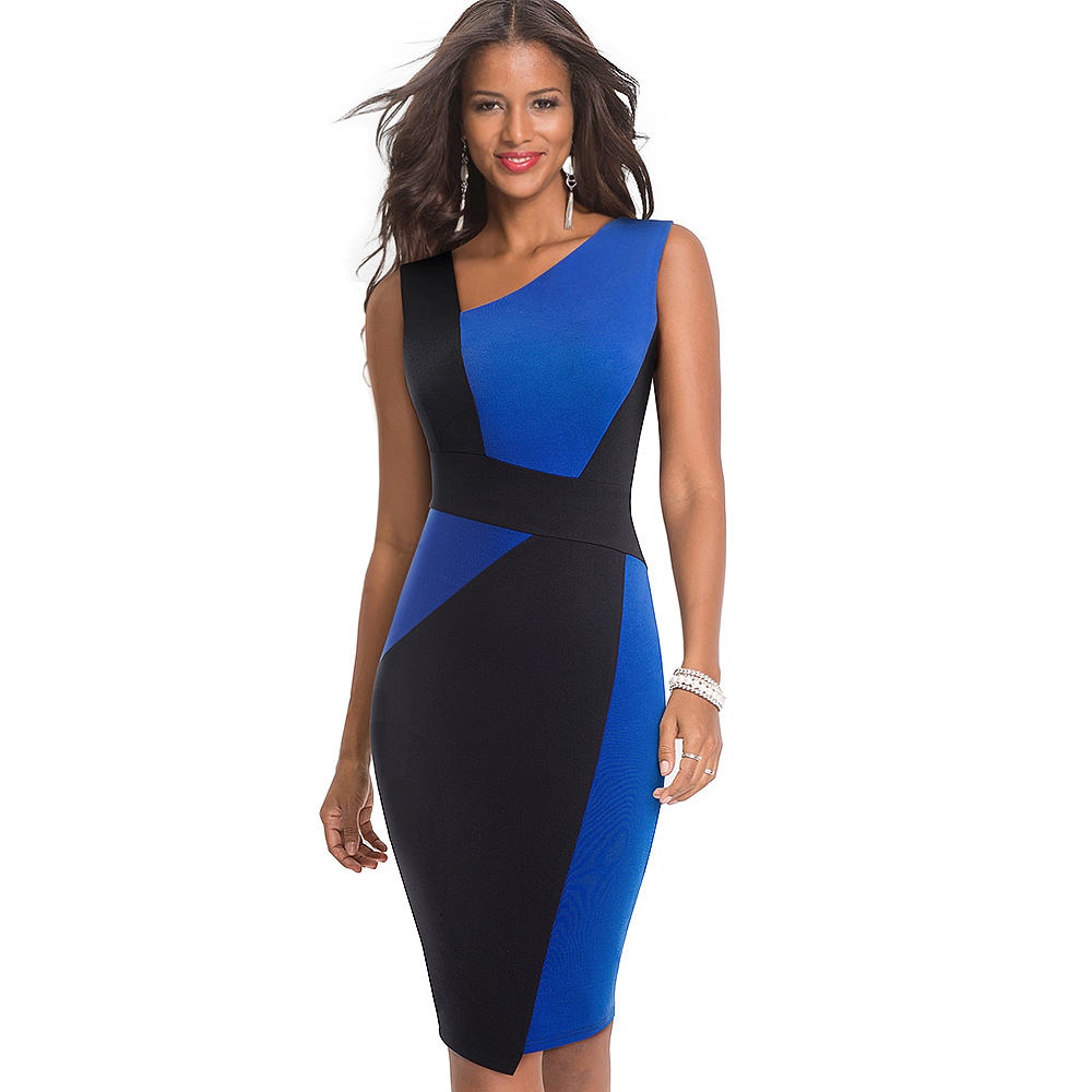2019 Fashion Women Summer Colorblock Sleeveless Sheath Bodycon Elegant Career Business Party Dress, Blue and black/white and black