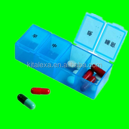 KA-PB000168Wholesale Plastic Portable Single Mini Am Pm Pill Box 4 Compartments One Day Pill Box