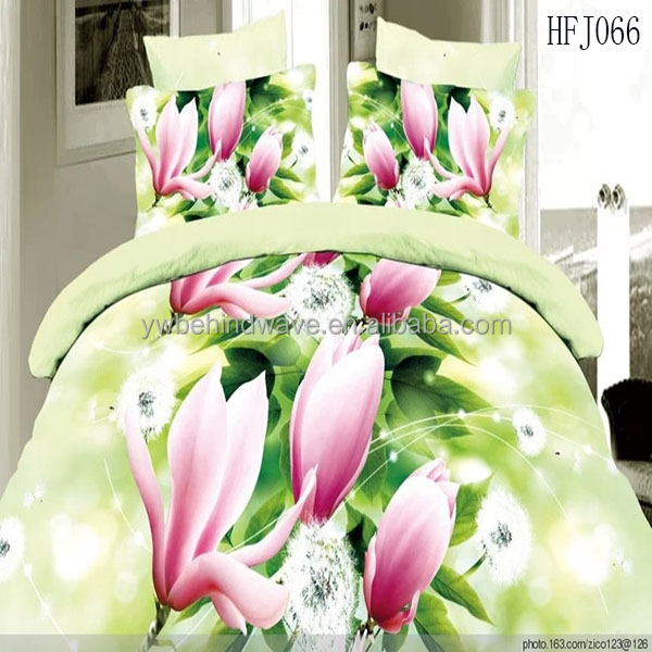 Reactive Flower Printing bridal bed sheet, 3D polyester 4 pcs bedding set
