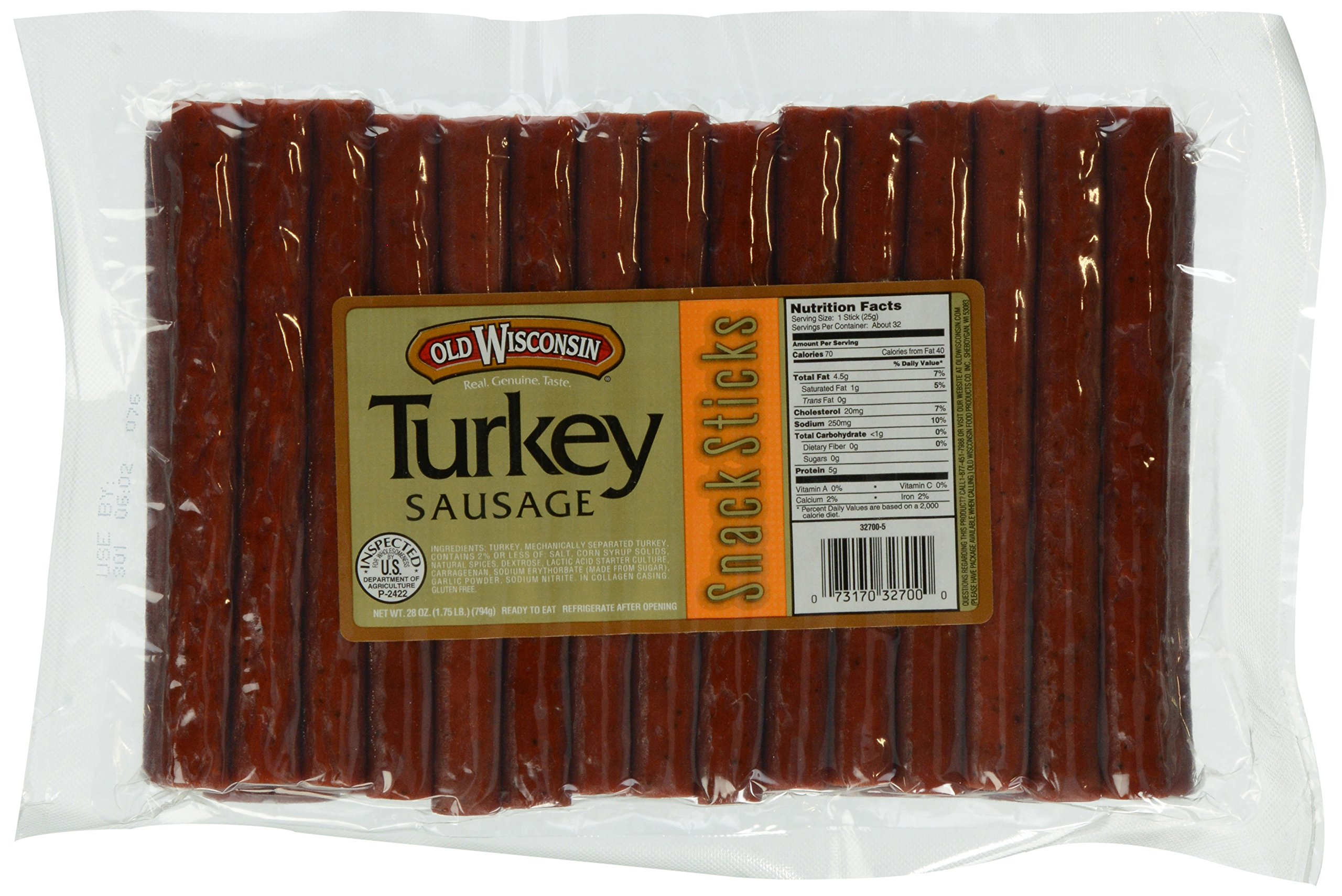 OLD WISCONSIN Turkey Snack Sticks, High Protein, Gluten Free, 28 Ounce Resealable Package