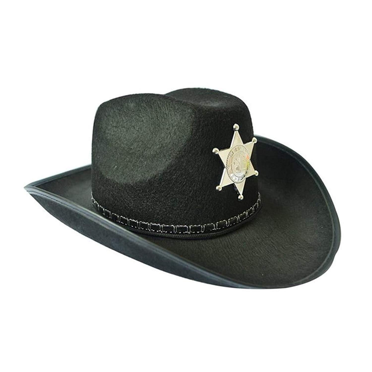 4617293cdc0a6 Get Quotations · luyaoyao Cowboy Hat Western Sheriff Hat Fancy Dress Cowboy  Themed