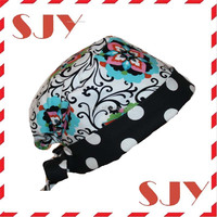 Custom printed Disposable Mens Scrub 100% cotton surgical caps