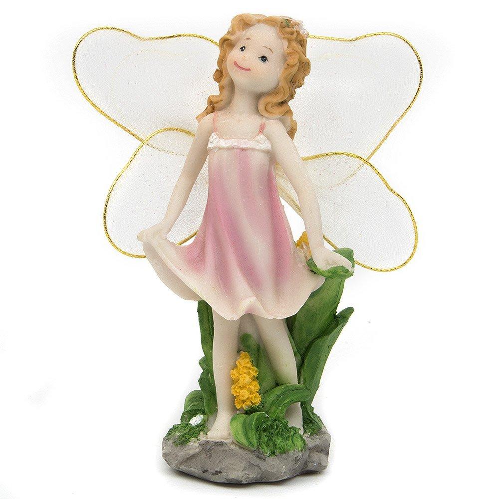 VASL Garden Ornaments Fairy Decoration Smiling Angel -Pink