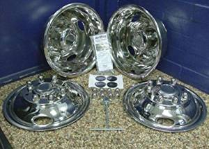 """Oem Factory Stock Genuine Stainless 2011 2012 2013 2014 2015 Super Duty F-350 17"""" 8 Lug Dual Dually 200MM Bolt With Air Max Wheel Rim Liners Hubcaps Covers Caps Chrome Kit"""