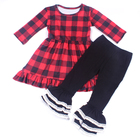 Wholesale Children's Girls Boutique Kids Clothing Plaid Dress Match Icing Ruffle Leggings Pant Baby Child Clothes Set