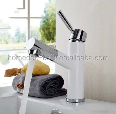 Washroom Sink Mixer Tap copper European retro style Pull out Hot and cold Chrome and White Washbasin Single handle Single hole