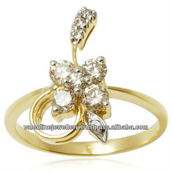Flower Pattern Cluster Diamond Gold Ring Tanishq Pattern Buy