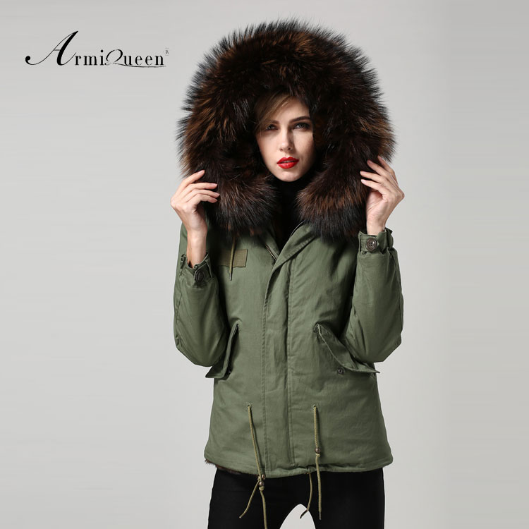 Green Parka For Women Apparel Supplier Brown Lining Hood Army ...