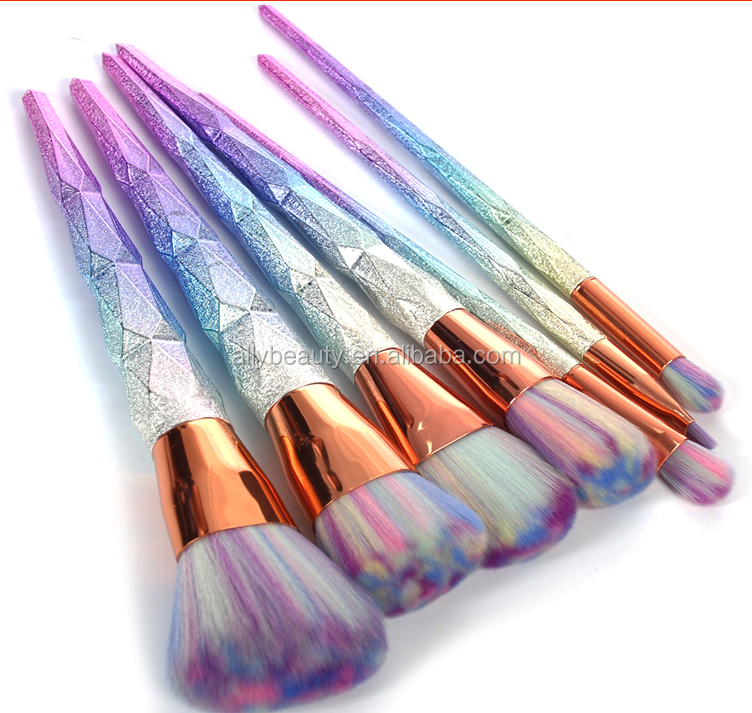 unicorn brush set. 7pcs professional makeup brush set thread rainbow handle brushes cosmetics blusher powder blending smooth unicorn o