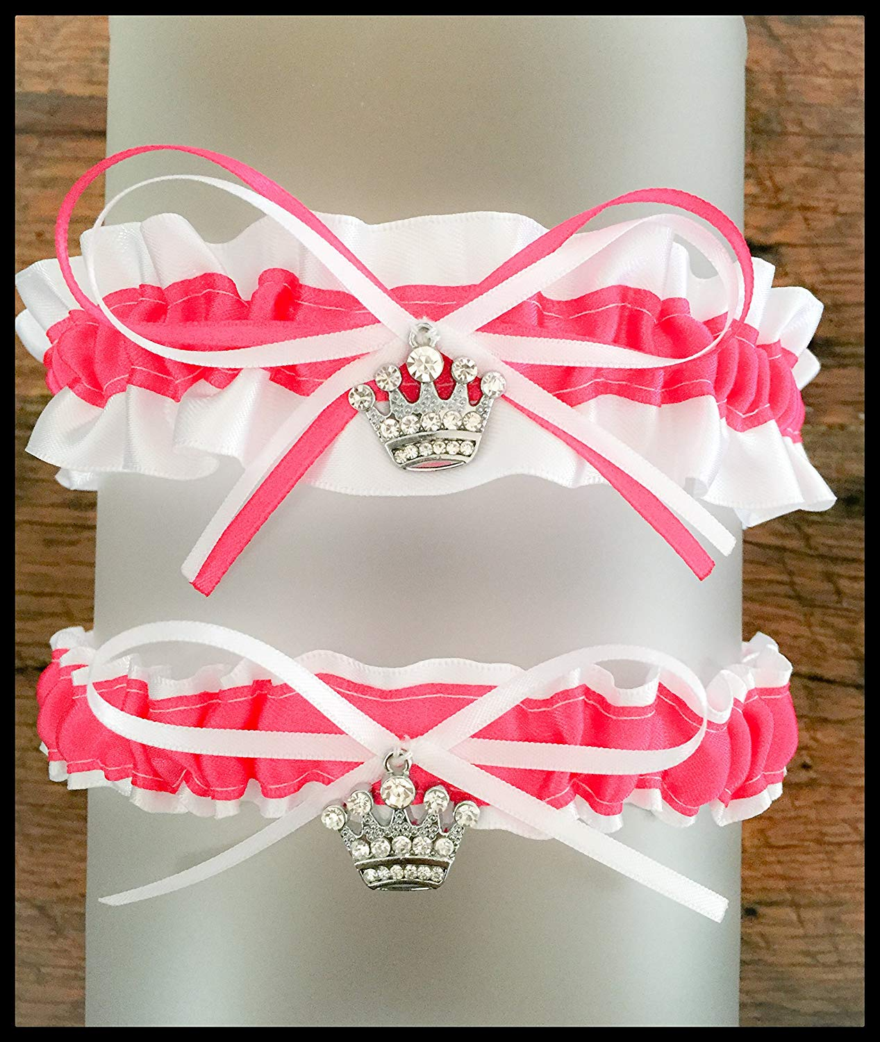 80a7b2864a8 Get Quotations · SEXY Hot Pink And White Satin Wedding Keepsake Or Bridal  Garter SET Pick Your Charm