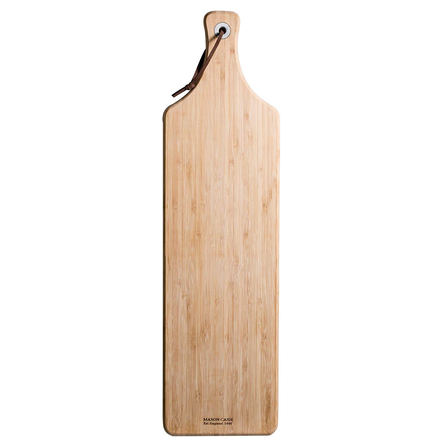 "Mason Cash Essentials Large Serving Board, Sustainable Bamboo Cutting Board With Leather Hanging Loop, 23-1/4x 6-1/4"", Ideal for Charcuterie, Cheese, Antipasto Platters and Bread"