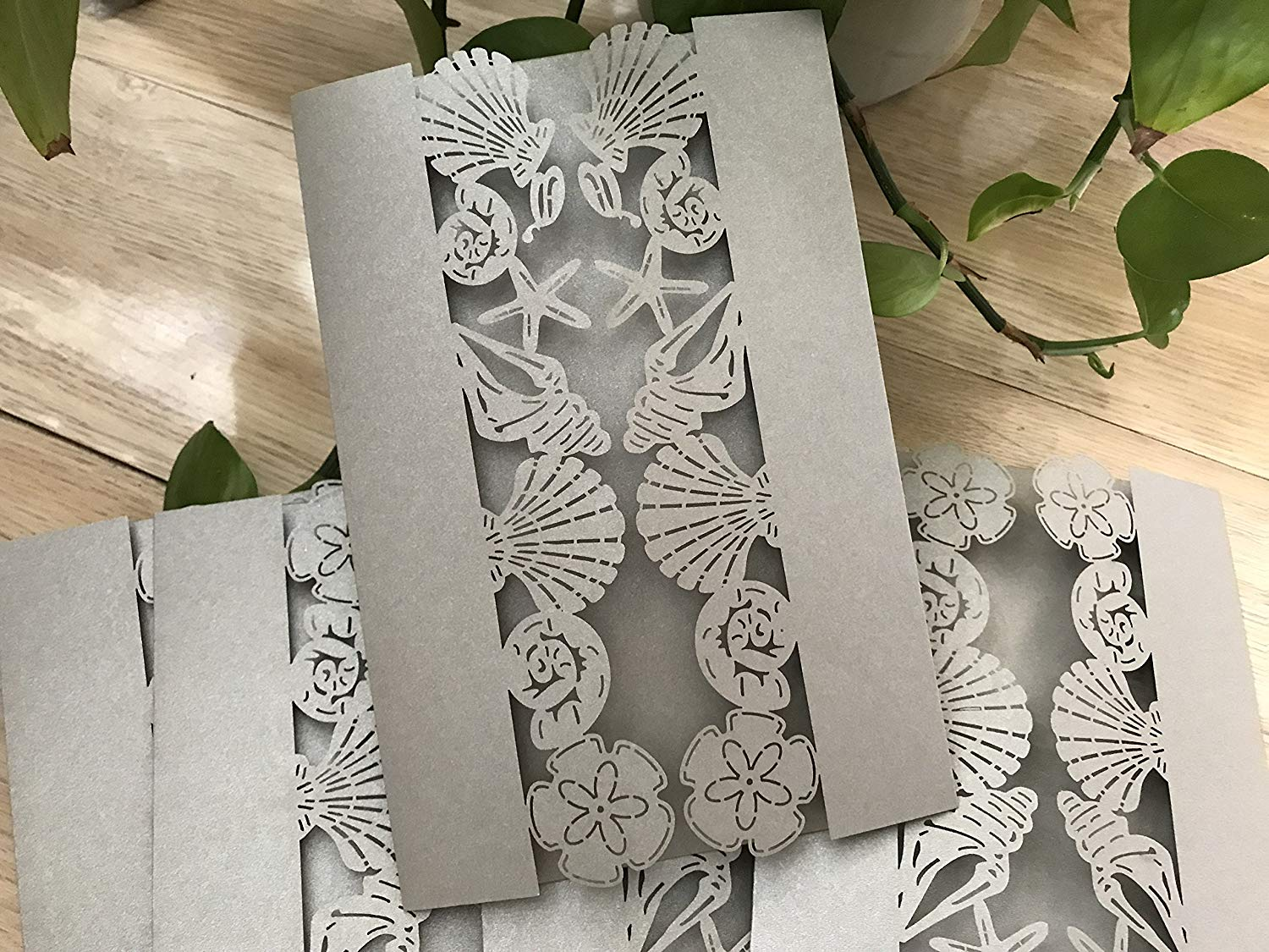 Pearl Silver Laser Cut Wedding Invitations,Seashell Wedding Invitation,Die Cut Laser Cut Wedding Cards,Invitation Cards,Seashell Invitation Covers,Wedding Cards,Invite,50pcs